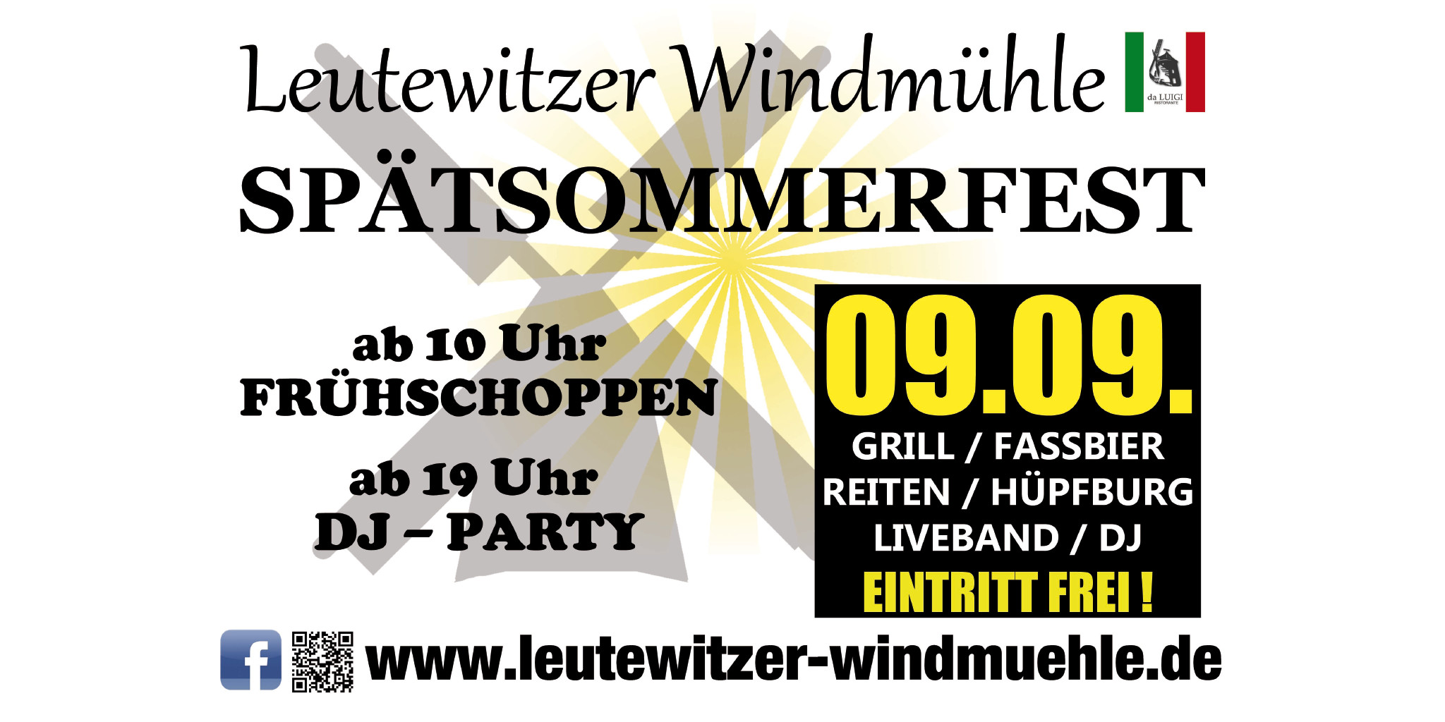Spätsommerfest Leutewitzer Windmühle mit Liveband & DJ